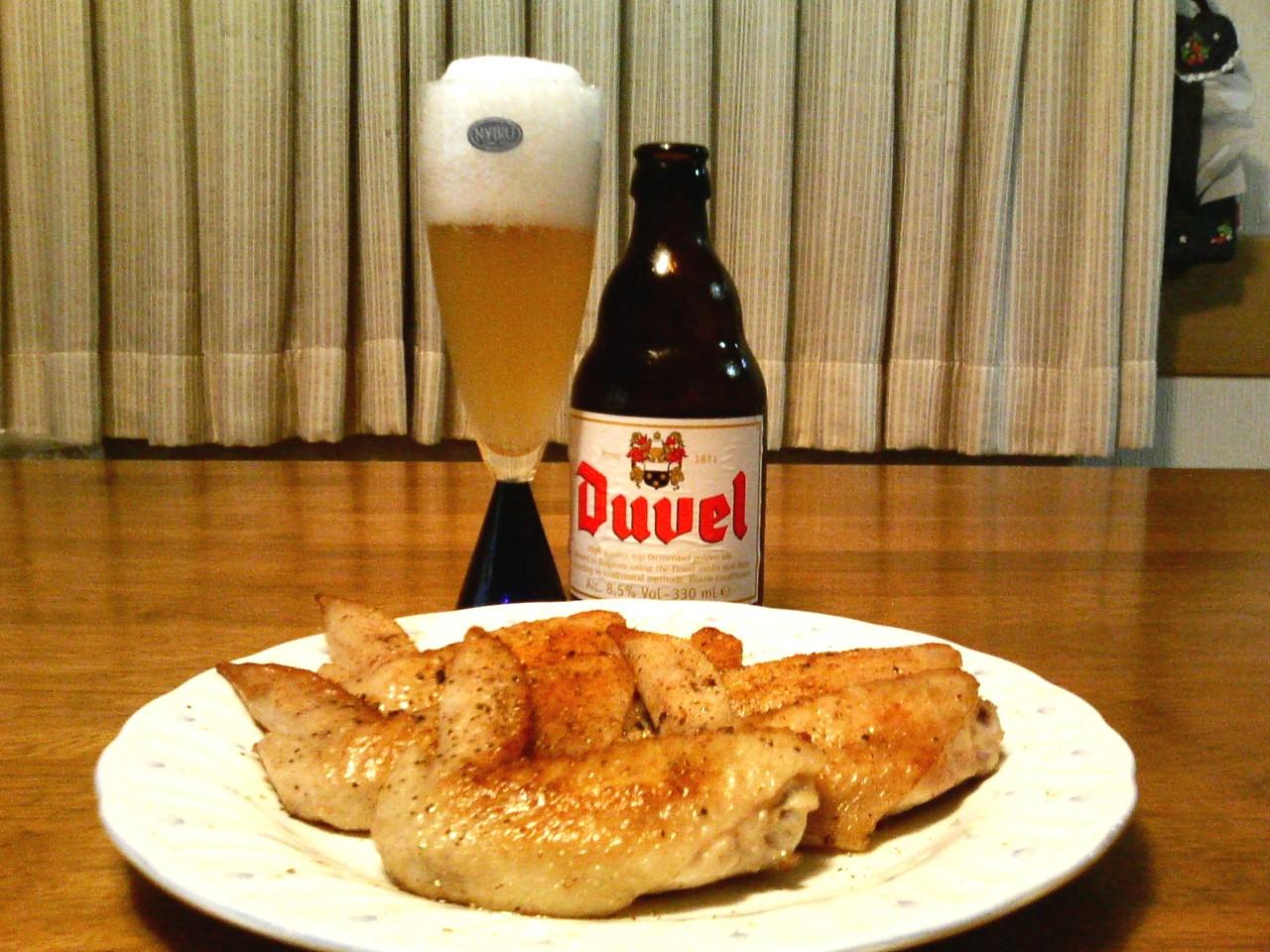 ベルギービールと手羽先