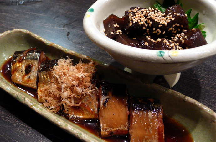 秋刀魚山椒煮とこんにゃく煮